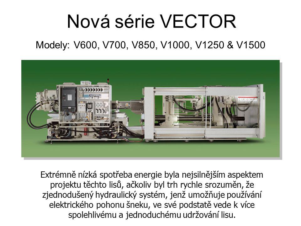 Nová série VECTOR Modely: V600, V700, V850, V1000, V1250 & V1500 Extrémně nízká spotřeba energie byla nejsilnějším aspektem projektu těchto lisů, ačko