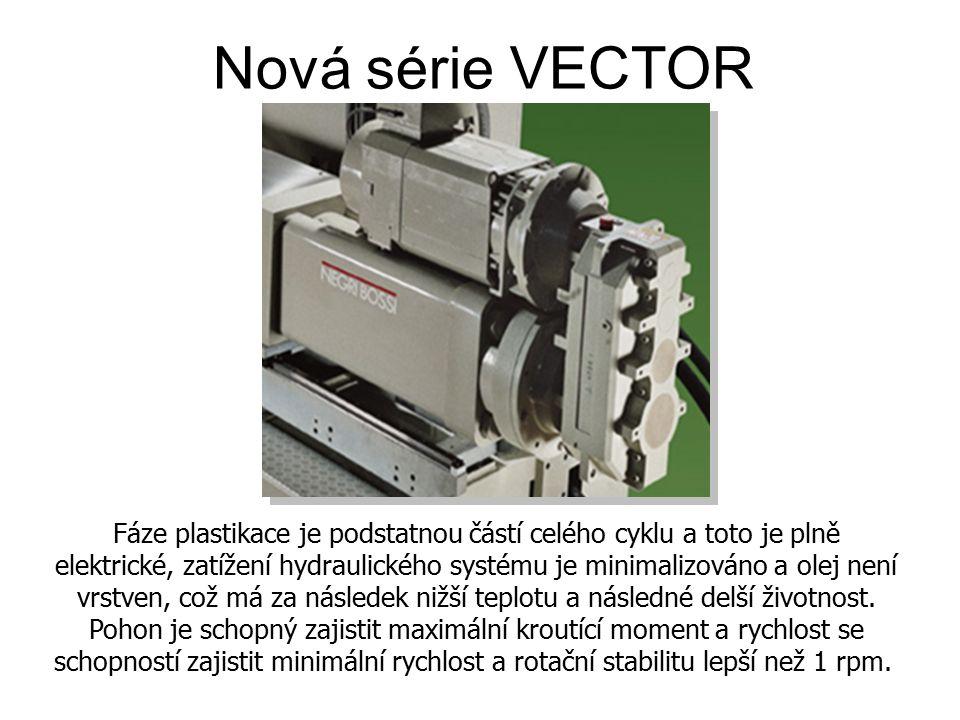Nová série VECTOR Fáze plastikace je podstatnou částí celého cyklu a toto je plně elektrické, zatížení hydraulického systému je minimalizováno a olej