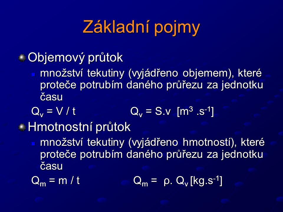 Základní pojmy Objemový průtok množství tekutiny (vyjádřeno objemem), které proteče potrubím daného průřezu za jednotku času množství tekutiny (vyjádřeno objemem), které proteče potrubím daného průřezu za jednotku času Q v = V / t Q v = S.v [m 3.s -1 ] Hmotnostní průtok množství tekutiny (vyjádřeno hmotností), které proteče potrubím daného průřezu za jednotku času množství tekutiny (vyjádřeno hmotností), které proteče potrubím daného průřezu za jednotku času Q m = m / t Q m = ρ.