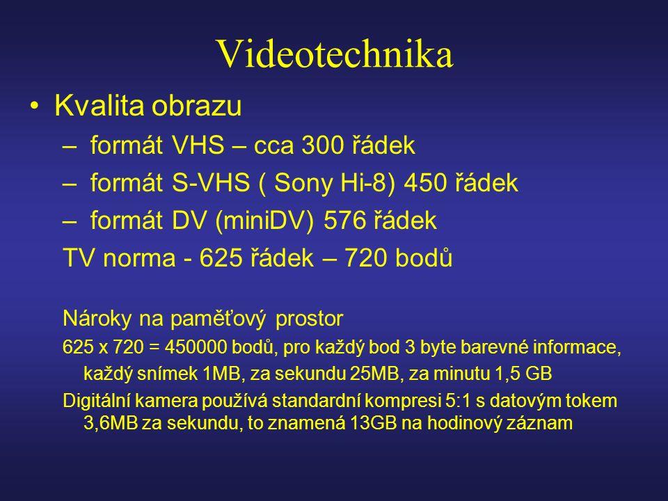 Videotechnika Kvalita obrazu – formát VHS – cca 300 řádek – formát S-VHS ( Sony Hi-8) 450 řádek – formát DV (miniDV) 576 řádek TV norma - 625 řádek – 720 bodů Nároky na paměťový prostor 625 x 720 = 450000 bodů, pro každý bod 3 byte barevné informace, každý snímek 1MB, za sekundu 25MB, za minutu 1,5 GB Digitální kamera používá standardní kompresi 5:1 s datovým tokem 3,6MB za sekundu, to znamená 13GB na hodinový záznam
