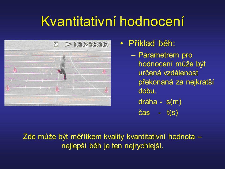 Kvantitativní hodnocení Příklad běh: –Parametrem pro hodnocení může být určená vzdálenost překonaná za nejkratší dobu.