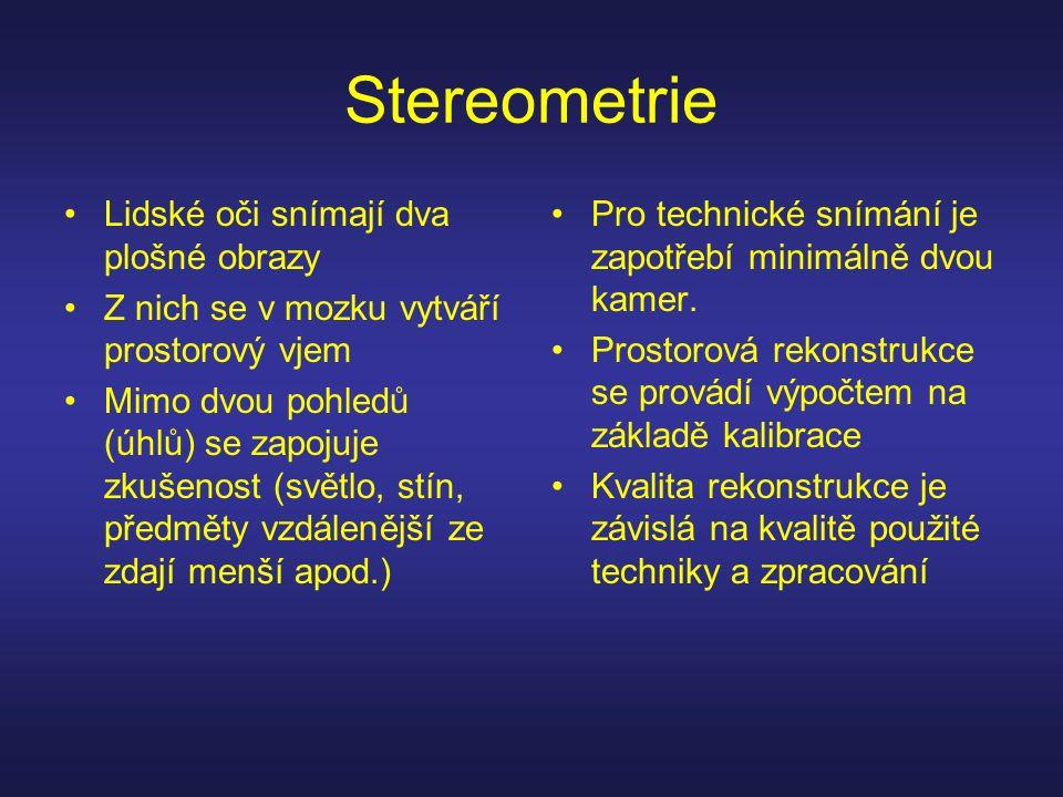 Stereometrie Lidské oči snímají dva plošné obrazy Z nich se v mozku vytváří prostorový vjem Mimo dvou pohledů (úhlů) se zapojuje zkušenost (světlo, st