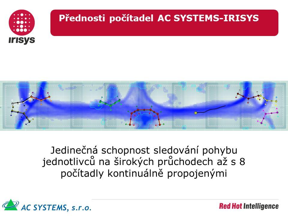 Přednosti počítadel AC SYSTEMS-IRISYS Jedinečná schopnost sledování pohybu jednotlivců na širokých průchodech až s 8 počítadly kontinuálně propojenými