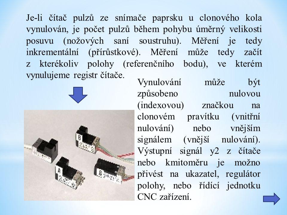 Je-li čítač pulzů ze snímače paprsku u clonového kola vynulován, je počet pulzů během pohybu úměrný velikosti posuvu (nožových saní soustruhu).