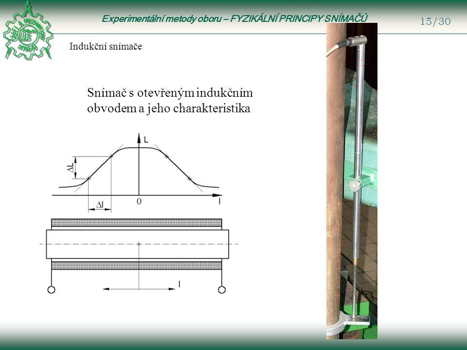 Experimentální metody oboru – FYZIKÁLNÍ PRINCIPY SNÍMAČŮ 15/30 Indukční snímače Snímač s otevřeným indukčním obvodem a jeho charakteristika