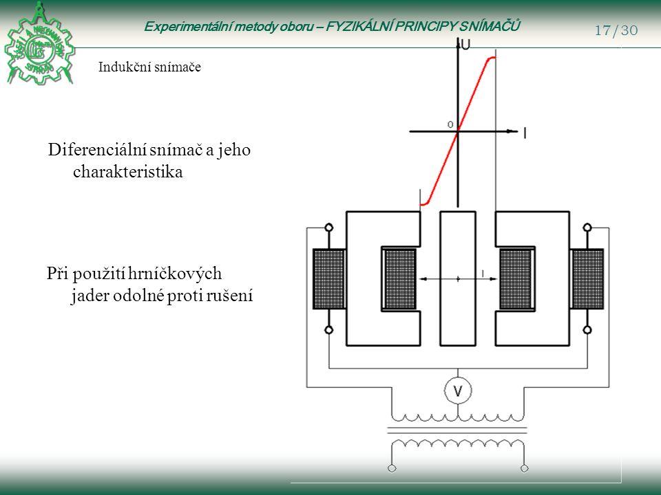 Experimentální metody oboru – FYZIKÁLNÍ PRINCIPY SNÍMAČŮ 17/30 Indukční snímače Diferenciální snímač a jeho charakteristika Při použití hrníčkových jader odolné proti rušení