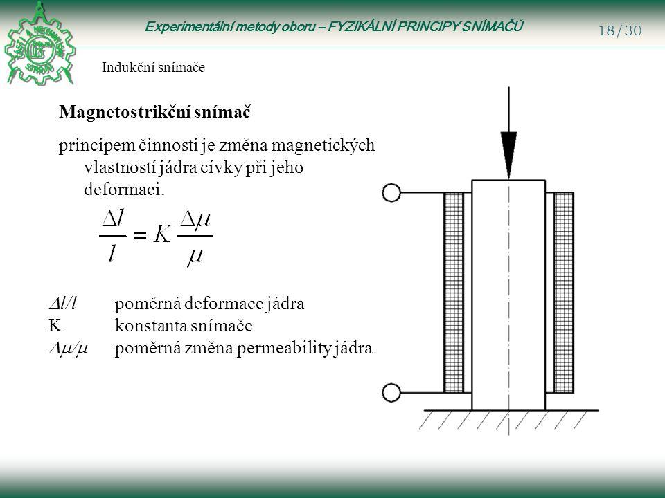 Experimentální metody oboru – FYZIKÁLNÍ PRINCIPY SNÍMAČŮ 18/30 Indukční snímače Magnetostrikční snímač principem činnosti je změna magnetických vlastností jádra cívky při jeho deformaci.