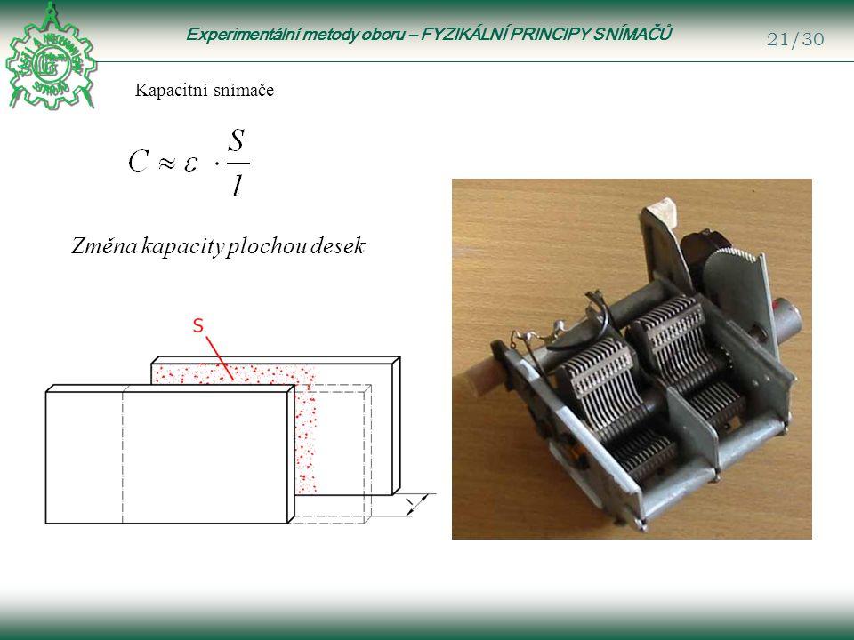 Experimentální metody oboru – FYZIKÁLNÍ PRINCIPY SNÍMAČŮ 21/30 Kapacitní snímače Změna kapacity plochou desek