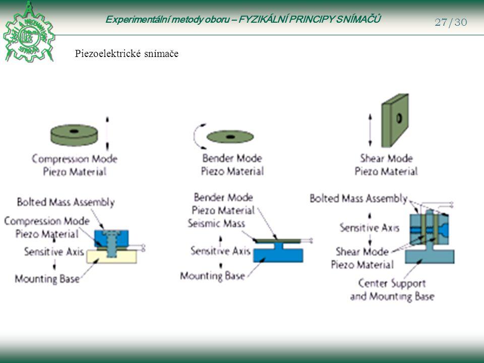 Experimentální metody oboru – FYZIKÁLNÍ PRINCIPY SNÍMAČŮ 27/30 Piezoelektrické snímače