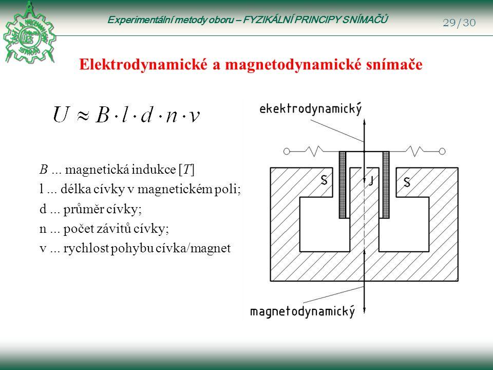 Experimentální metody oboru – FYZIKÁLNÍ PRINCIPY SNÍMAČŮ 29/30 Elektrodynamické a magnetodynamické snímače B...