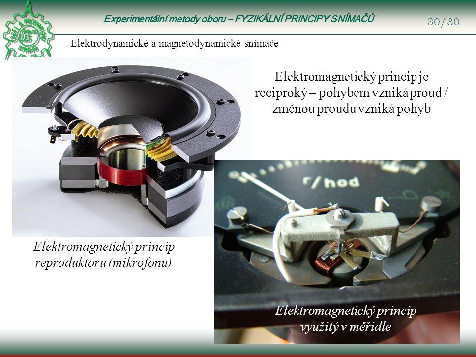 Experimentální metody oboru – FYZIKÁLNÍ PRINCIPY SNÍMAČŮ 30/30 Elektrodynamické a magnetodynamické snímače Elektromagnetický princip reproduktoru (mikrofonu) Elektromagnetický princip využitý v měřidle Elektromagnetický princip je reciproký – pohybem vzniká proud / změnou proudu vzniká pohyb