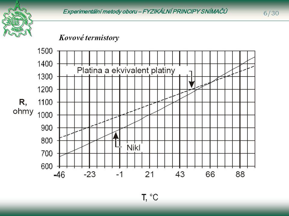 Experimentální metody oboru – FYZIKÁLNÍ PRINCIPY SNÍMAČŮ 6/30 Kovové termistory