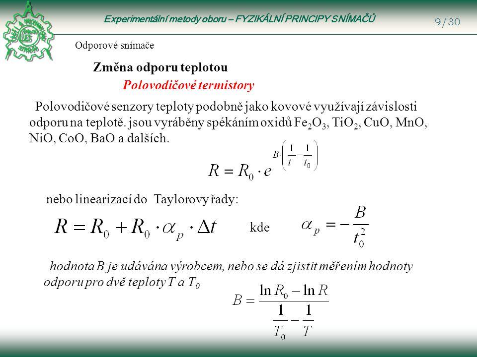 Experimentální metody oboru – FYZIKÁLNÍ PRINCIPY SNÍMAČŮ 10/30 Polovodičové termistory