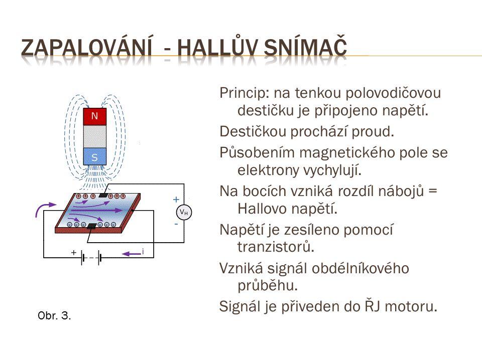 Hallův snímač otáček je umístěn:  na pevné části motoru  u rotující části s magnety, kovovými výstupky nebo dírami, např:  u setrvačníku  u klikové hřídele  u vačky  v rozdělovači Obr.