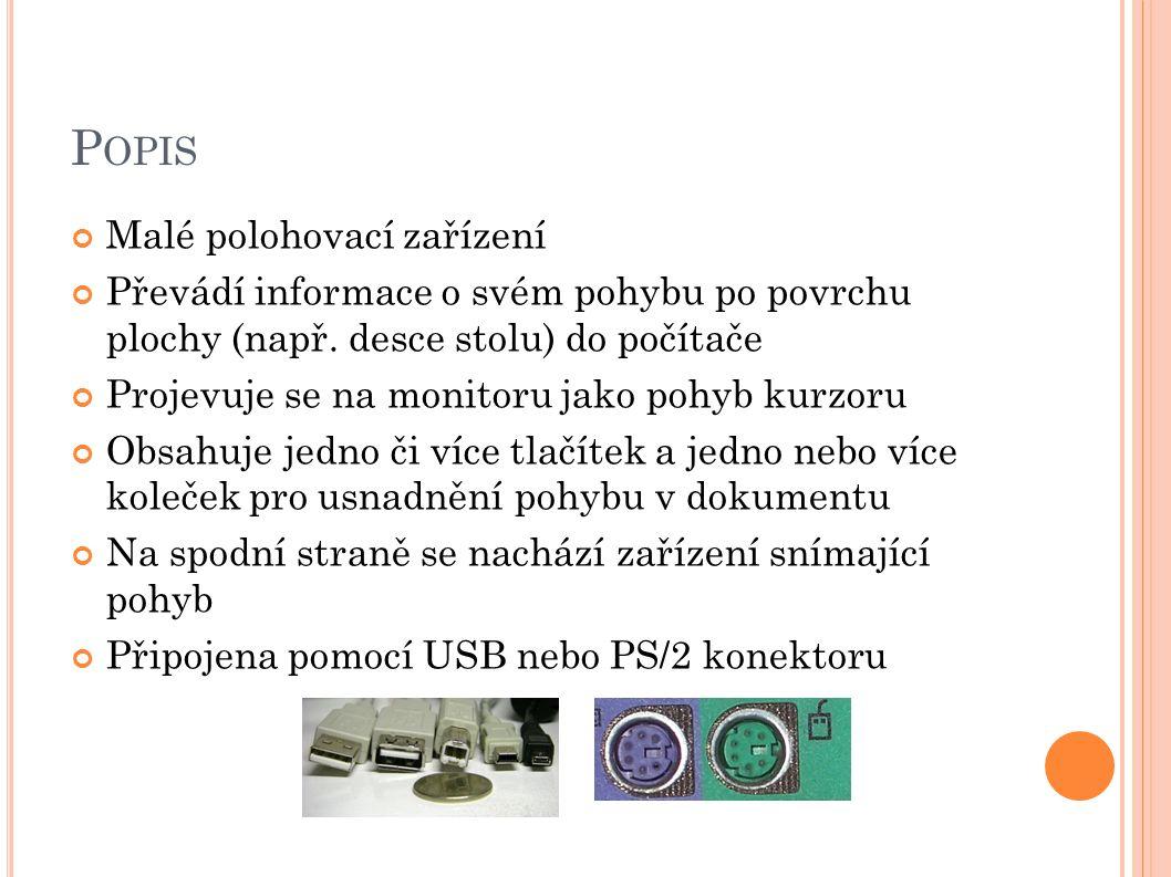 P OPIS Malé polohovací zařízení Převádí informace o svém pohybu po povrchu plochy (např.