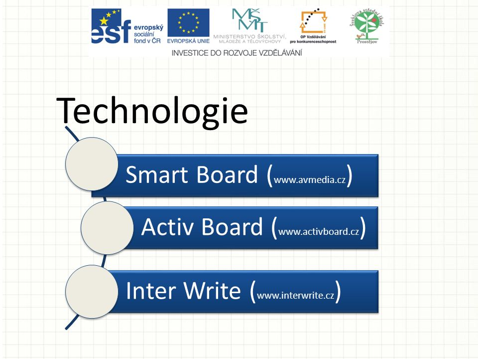 Tabule Active board používají ACTIV STUDIO (*.flipchart, *.flp) Tabule Smart board používají SMART NOTEBOOK (*.notebook, *.ntb) Tabule InterWrite board používají Interwrite Workspace (*.gwb)