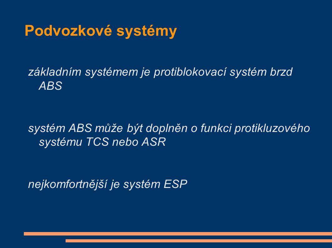 Podvozkové systémy základním systémem je protiblokovací systém brzd ABS systém ABS může být doplněn o funkci protikluzového systému TCS nebo ASR nejko