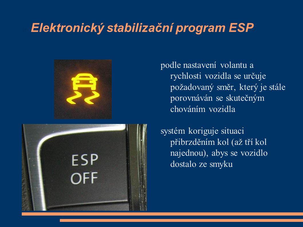Elektronický stabilizační program ESP podle nastavení volantu a rychlosti vozidla se určuje požadovaný směr, který je stále porovnáván se skutečným ch