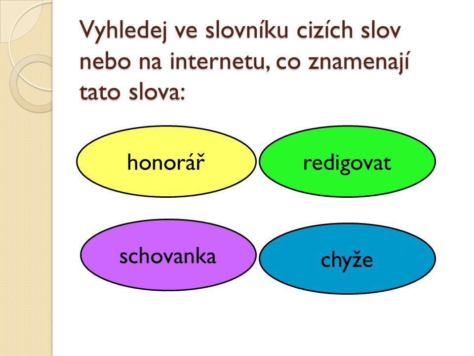 Vyhledej ve slovníku cizích slov nebo na internetu, co znamenají tato slova: honorář schovanka chyže redigovat