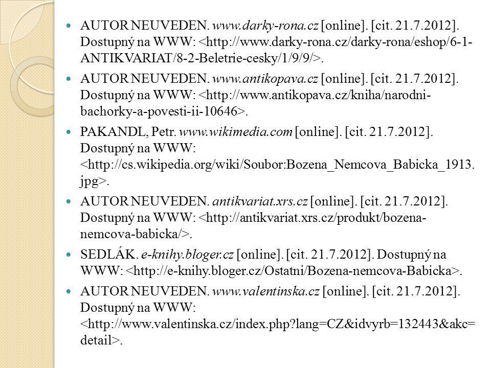 AUTOR NEUVEDEN. www.darky-rona.cz [online]. [cit.