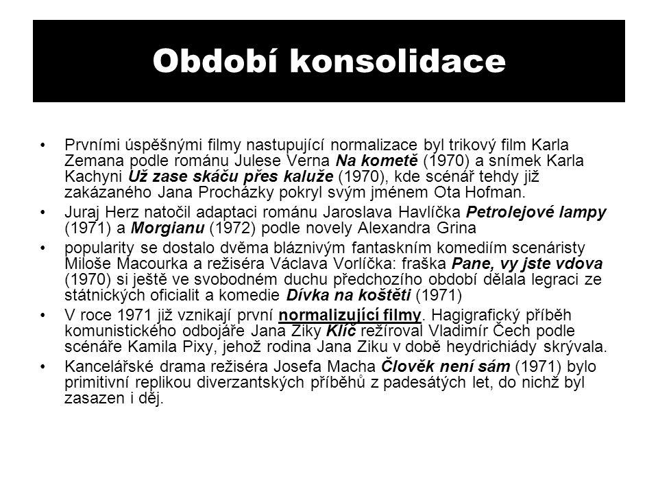 Období konsolidace Prvními úspěšnými filmy nastupující normalizace byl trikový film Karla Zemana podle románu Julese Verna Na kometě (1970) a snímek K