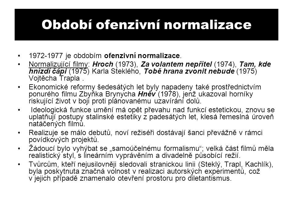 Období ofenzivní normalizace 1972-1977 je obdobím ofenzivní normalizace. Normalizující filmy: Hroch (1973), Za volantem nepřítel (1974), Tam, kde hníz