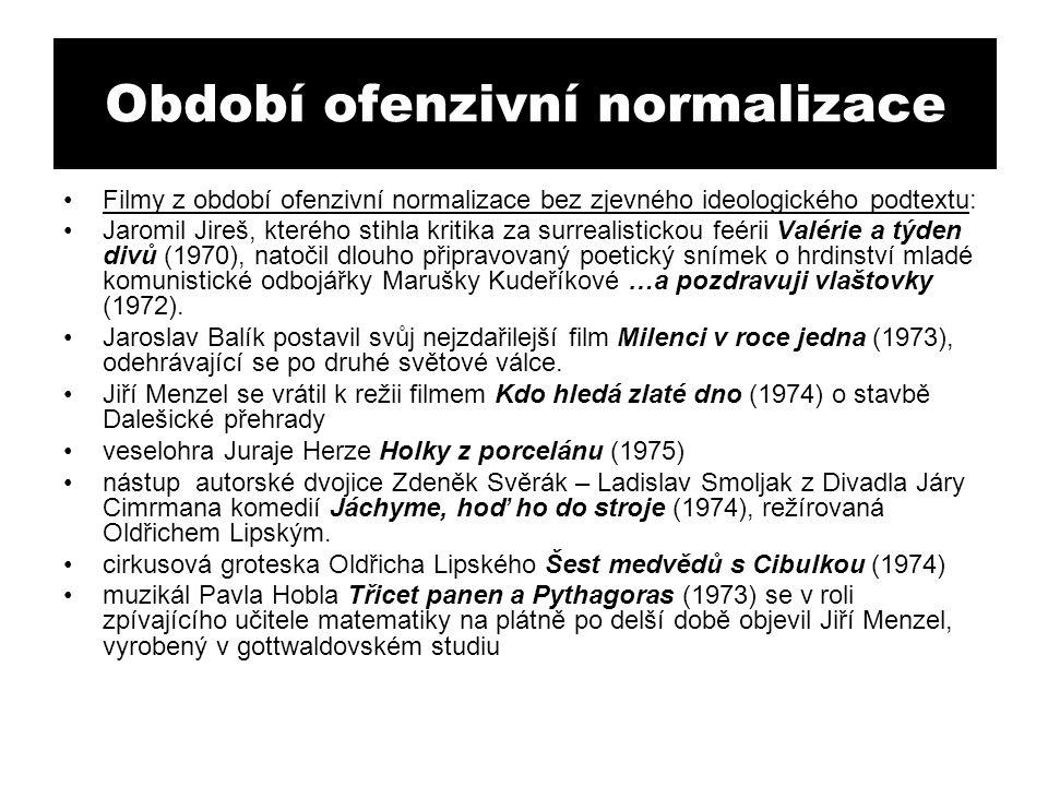 Období ofenzivní normalizace Filmy z období ofenzivní normalizace bez zjevného ideologického podtextu: Jaromil Jireš, kterého stihla kritika za surrealistickou feérii Valérie a týden divů (1970), natočil dlouho připravovaný poetický snímek o hrdinství mladé komunistické odbojářky Marušky Kudeříkové …a pozdravuji vlaštovky (1972).