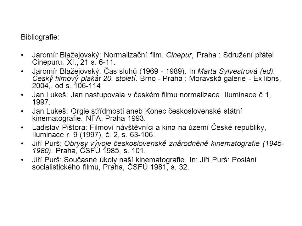 Bibliografie: Jaromír Blažejovský: Normalizační film. Cinepur, Praha : Sdružení přátel Cinepuru, XI., 21 s. 6-11. Jaromír Blažejovský: Čas sluhů (1969