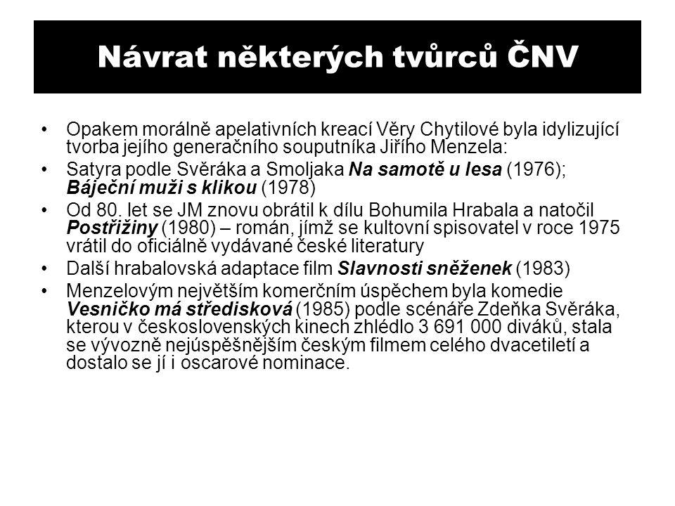Návrat některých tvůrců ČNV Opakem morálně apelativních kreací Věry Chytilové byla idylizující tvorba jejího generačního souputníka Jiřího Menzela: Sa
