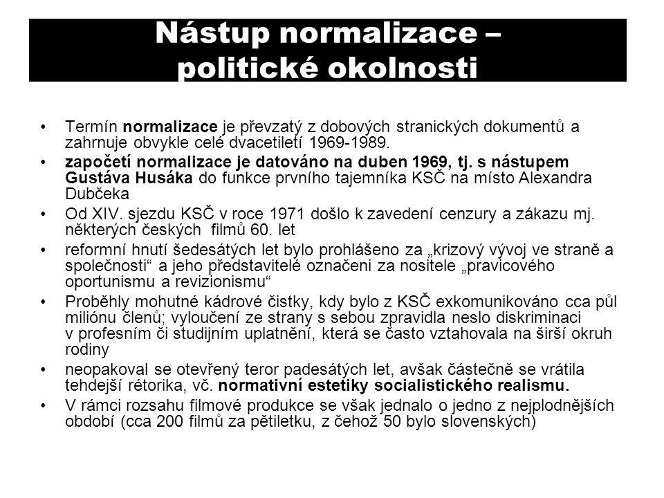 Nástup normalizace – politické okolnosti Termín normalizace je převzatý z dobových stranických dokumentů a zahrnuje obvykle celé dvacetiletí 1969-1989