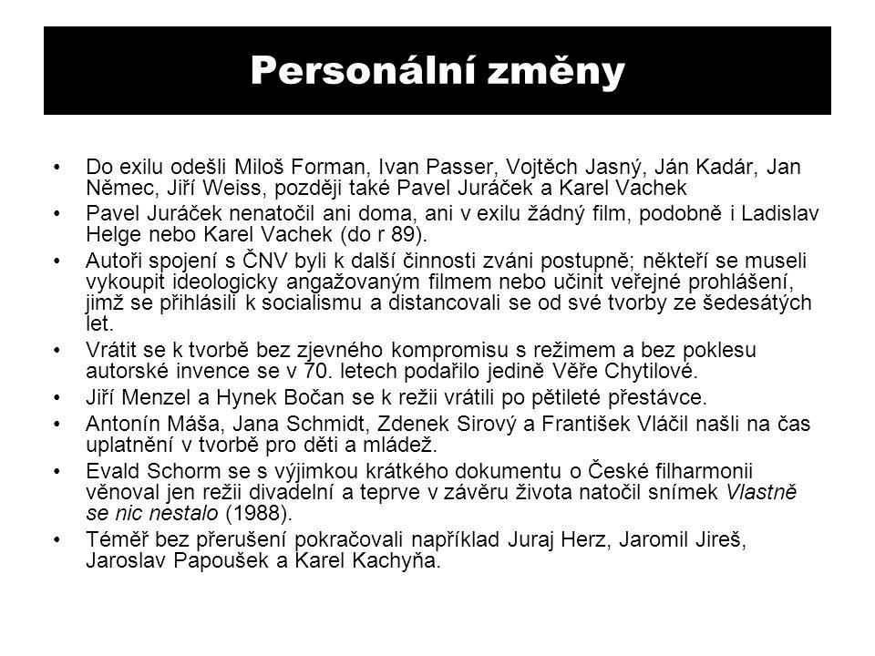 Personální změny Do exilu odešli Miloš Forman, Ivan Passer, Vojtěch Jasný, Ján Kadár, Jan Němec, Jiří Weiss, později také Pavel Juráček a Karel Vachek