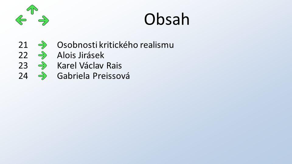 Obsah Osobnosti kritického realismu21 Alois Jirásek22 Karel Václav Rais23 Gabriela Preissová24