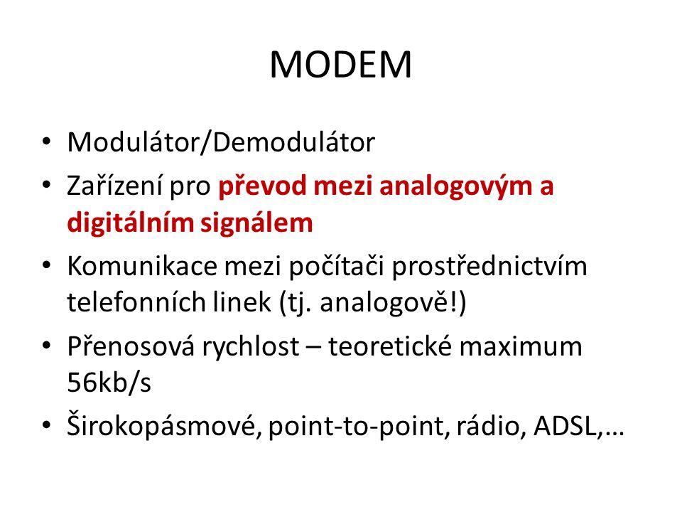 MODEM Modulátor/Demodulátor Zařízení pro převod mezi analogovým a digitálním signálem Komunikace mezi počítači prostřednictvím telefonních linek (tj.