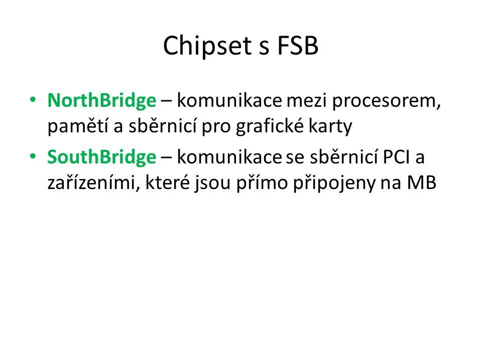 Chipset s FSB NorthBridge – komunikace mezi procesorem, pamětí a sběrnicí pro grafické karty SouthBridge – komunikace se sběrnicí PCI a zařízeními, kt