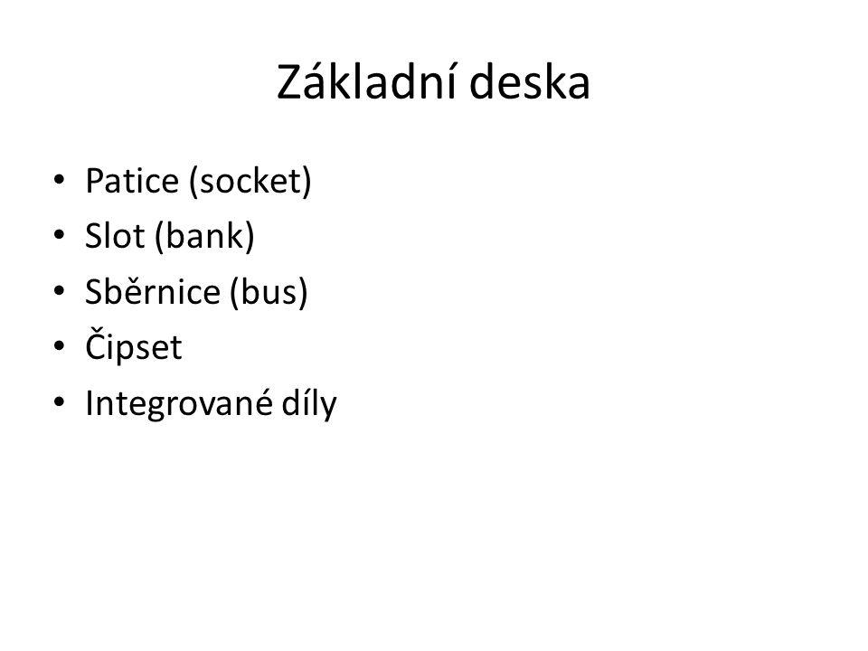 Základní deska Patice (socket) Slot (bank) Sběrnice (bus) Čipset Integrované díly