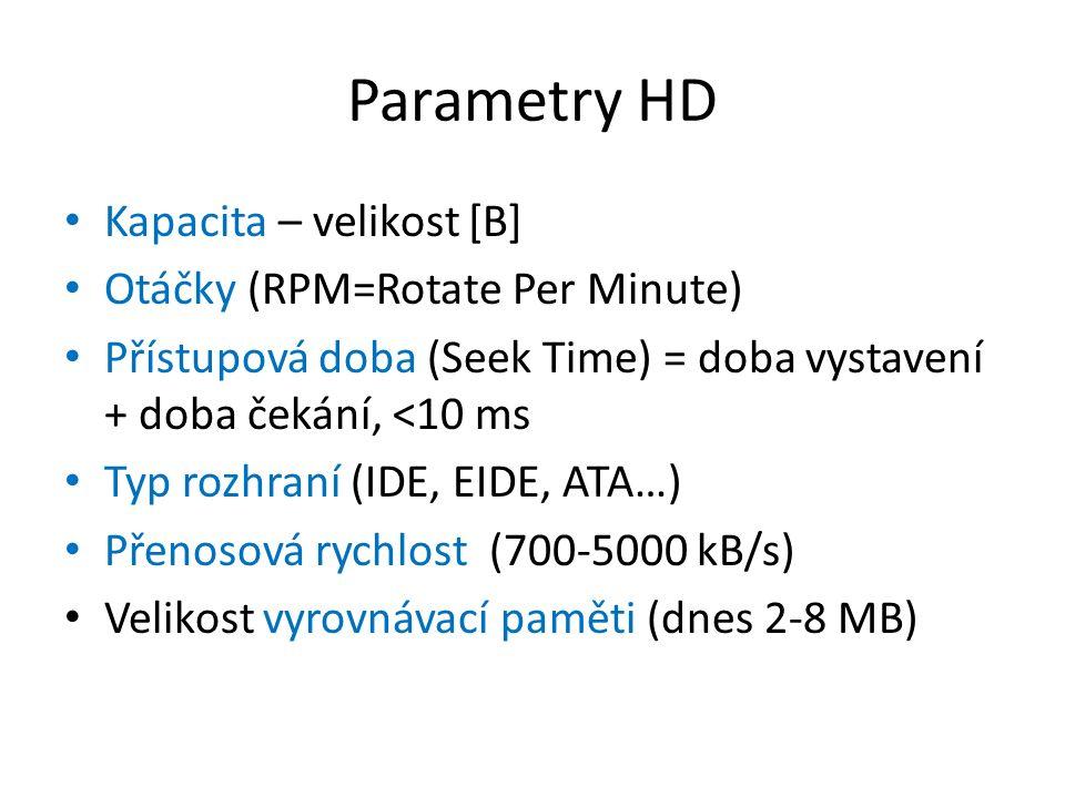 Parametry HD Kapacita – velikost [B] Otáčky (RPM=Rotate Per Minute) Přístupová doba (Seek Time) = doba vystavení + doba čekání, <10 ms Typ rozhraní (I