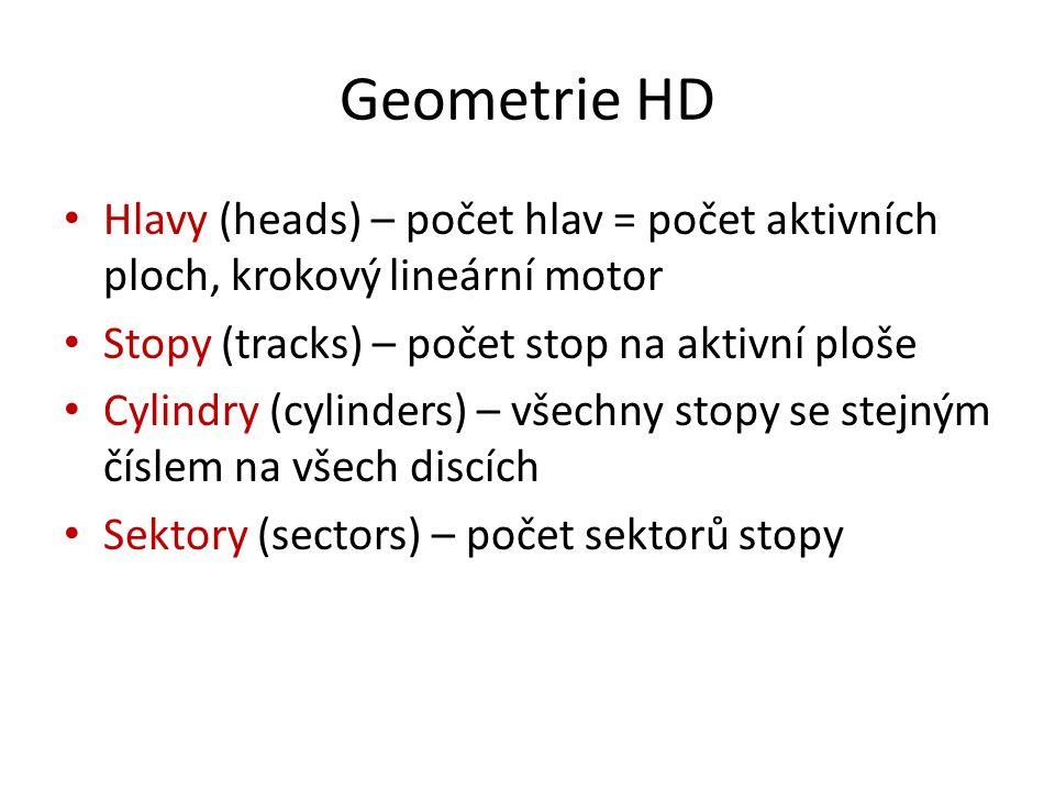 Geometrie HD Hlavy (heads) – počet hlav = počet aktivních ploch, krokový lineární motor Stopy (tracks) – počet stop na aktivní ploše Cylindry (cylinders) – všechny stopy se stejným číslem na všech discích Sektory (sectors) – počet sektorů stopy