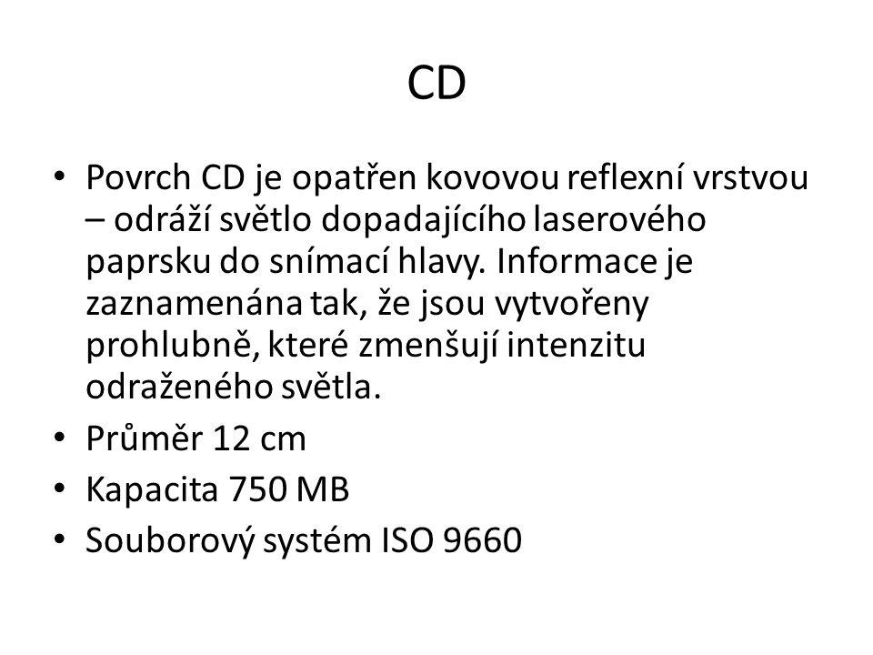 CD Povrch CD je opatřen kovovou reflexní vrstvou – odráží světlo dopadajícího laserového paprsku do snímací hlavy. Informace je zaznamenána tak, že js