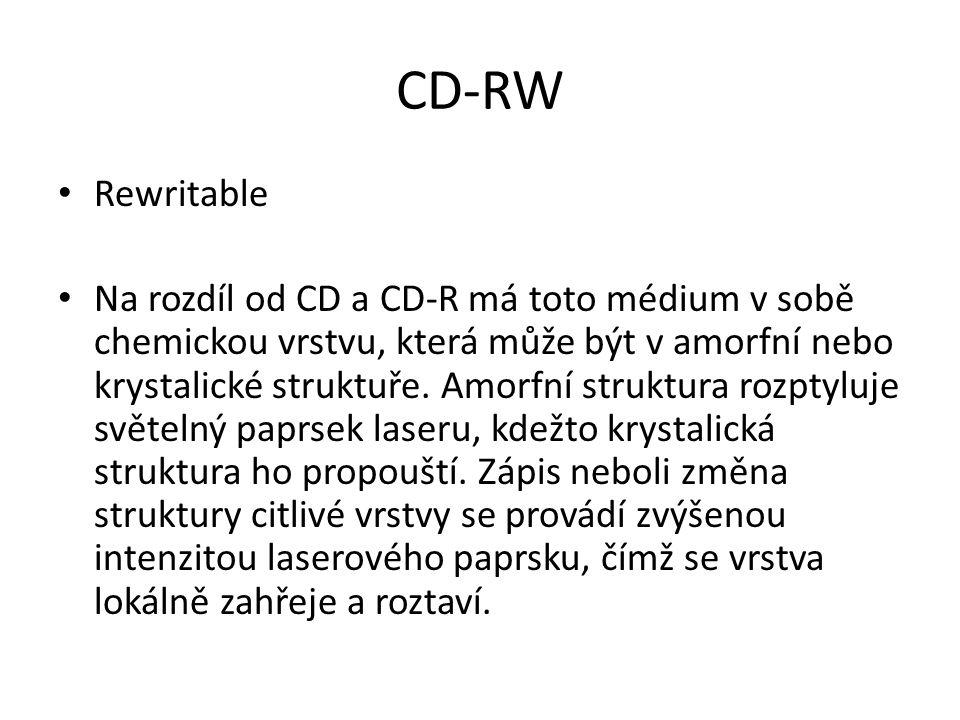 CD-RW Rewritable Na rozdíl od CD a CD-R má toto médium v sobě chemickou vrstvu, která může být v amorfní nebo krystalické struktuře.