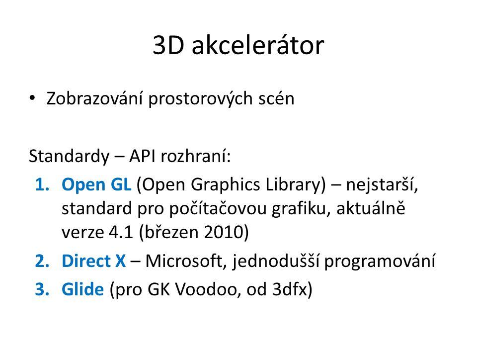3D akcelerátor Zobrazování prostorových scén Standardy – API rozhraní: 1.Open GL (Open Graphics Library) – nejstarší, standard pro počítačovou grafiku