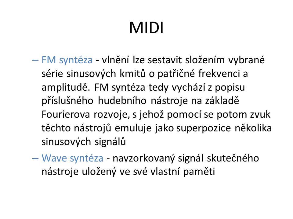 MIDI – FM syntéza - vlnění lze sestavit složením vybrané série sinusových kmitů o patřičné frekvenci a amplitudě. FM syntéza tedy vychází z popisu pří