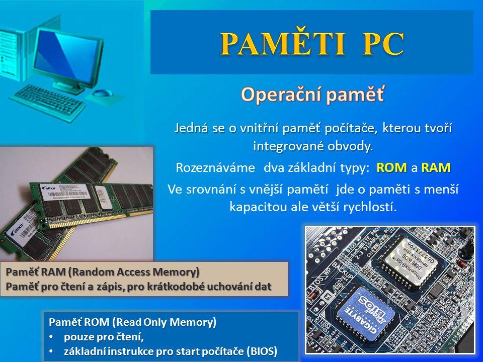 Jedná se o vnitřní paměť počítače, kterou tvoří integrované obvody.