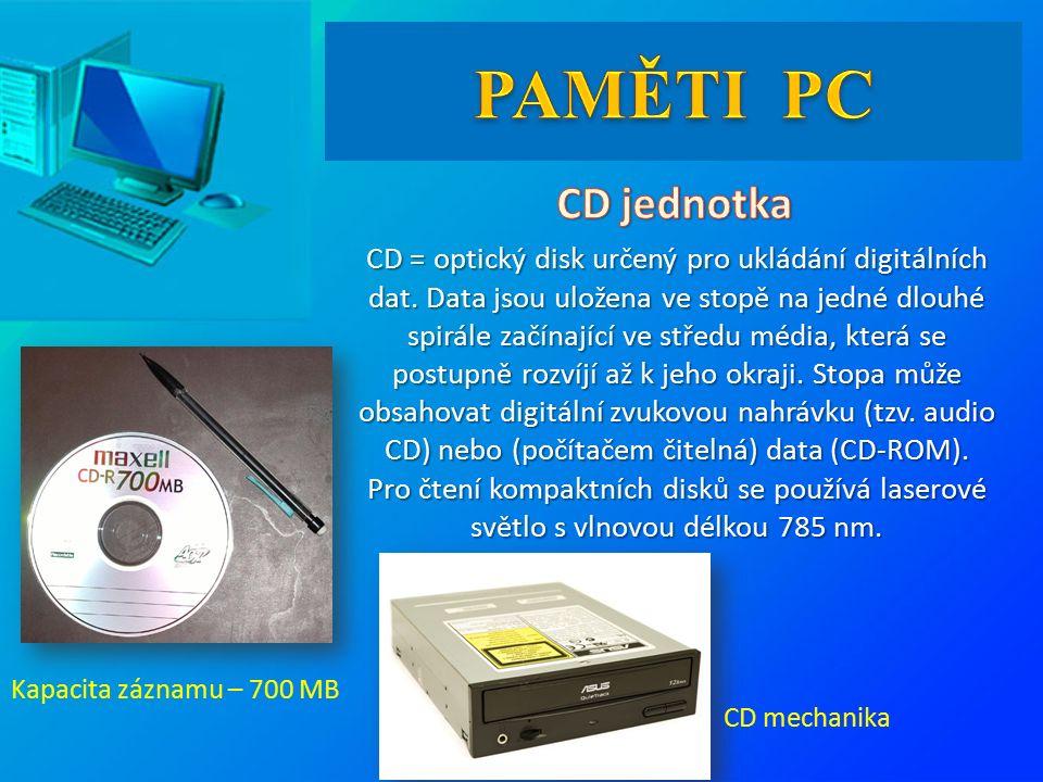 CD = optický disk určený pro ukládání digitálních dat.