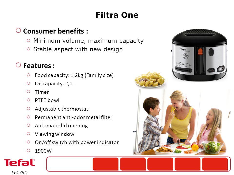 Hlavní výhody: Jednoduché ovládání Maximální kapacita při zachování kompaktních rozměrů Vlastnosti : Kapacita jídla: 1,2kg Kapacita oleje: 2,1L Časovač Nepřilnavý povrch vnitřní nádoby Nastavitelný termostat Zabudovaný kovový pachový filtr Automatické otevírání víka Víko s průzorem On/off tlačítko s indikátorem zapnutí 1900W FF175D Filtra One Ref.