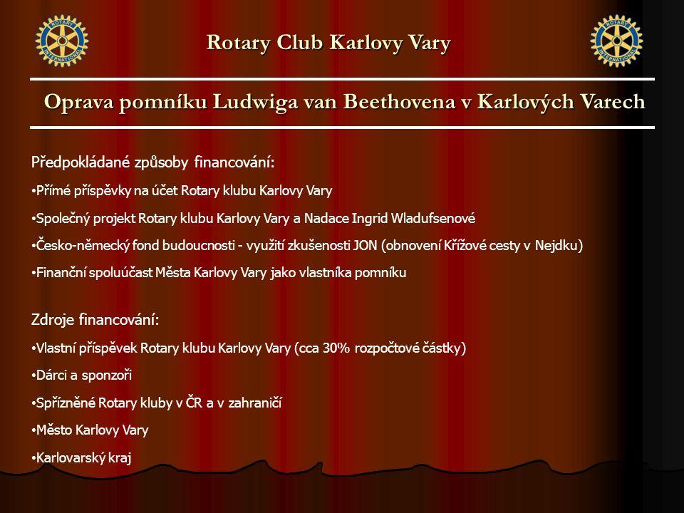 Předpokládané způsoby financování: Přímé příspěvky na účet Rotary klubu Karlovy Vary Společný projekt Rotary klubu Karlovy Vary a Nadace Ingrid Wladuf