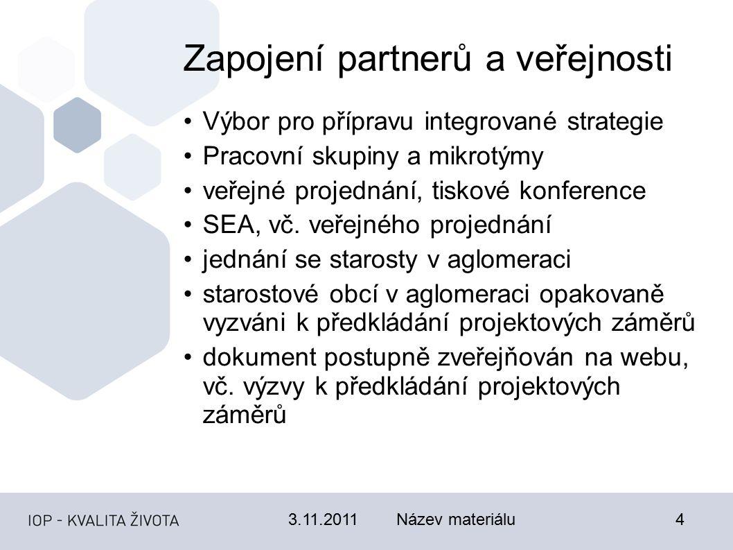 3.11.2011Název materiálu4 Zapojení partnerů a veřejnosti Výbor pro přípravu integrované strategie Pracovní skupiny a mikrotýmy veřejné projednání, tiskové konference SEA, vč.
