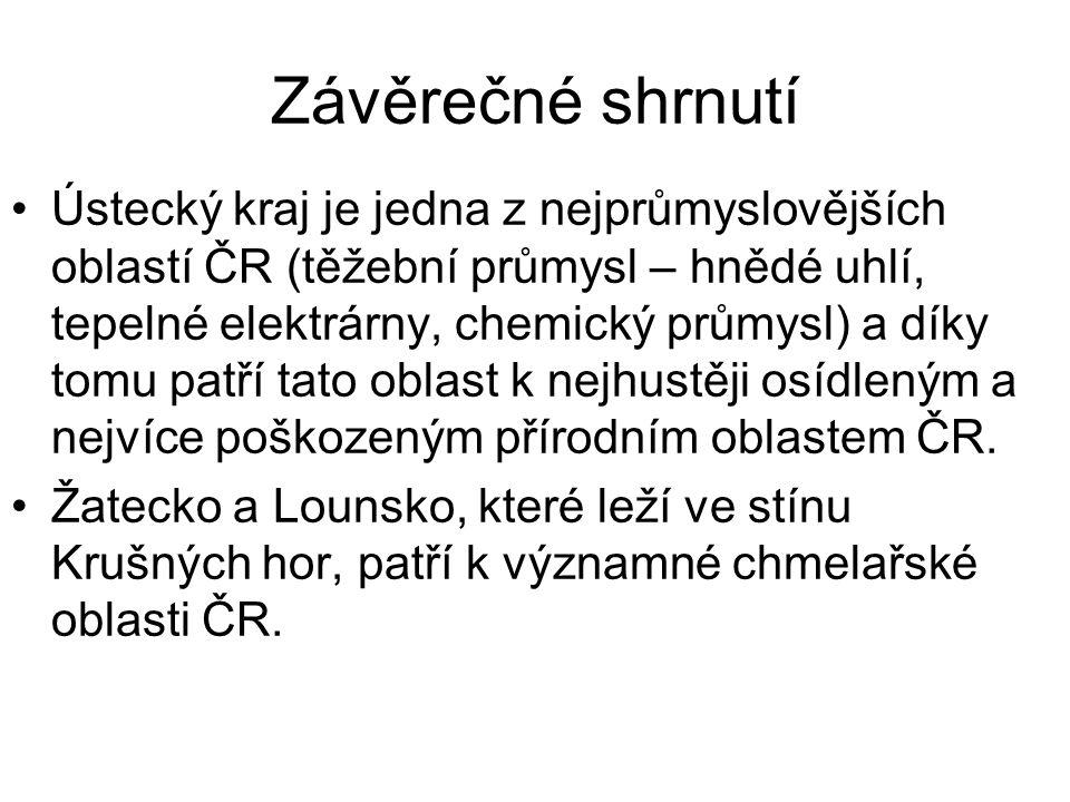 Závěrečné shrnutí Ústecký kraj je jedna z nejprůmyslovějších oblastí ČR (těžební průmysl – hnědé uhlí, tepelné elektrárny, chemický průmysl) a díky tomu patří tato oblast k nejhustěji osídleným a nejvíce poškozeným přírodním oblastem ČR.