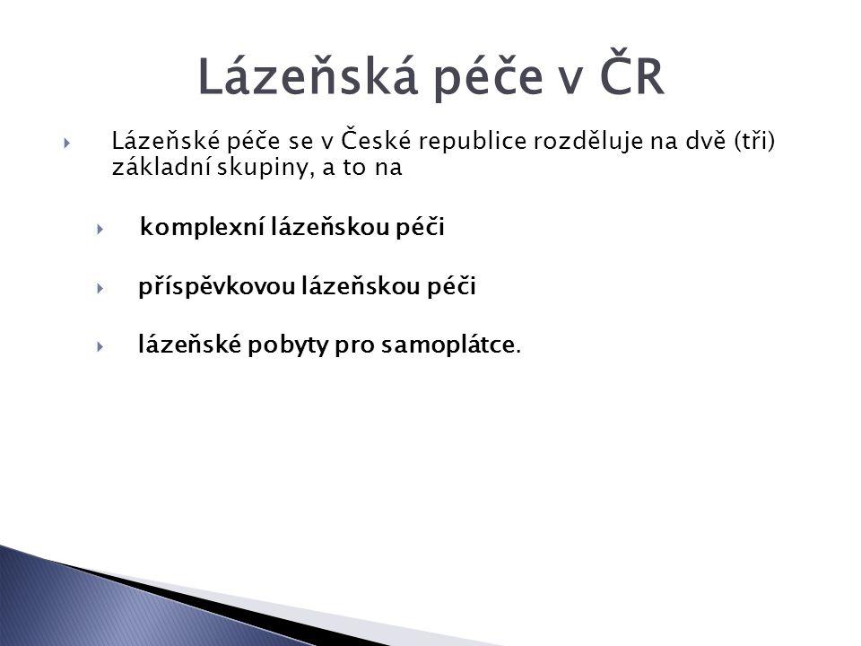 Lázeňská péče v ČR  Lázeňské péče se v České republice rozděluje na dvě (tři) základní skupiny, a to na  komplexní lázeňskou péči  příspěvkovou lázeňskou péči  lázeňské pobyty pro samoplátce.