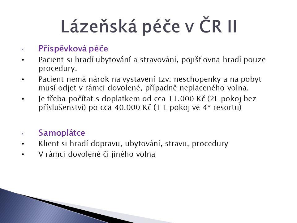 Lázeňská péče v ČR II Příspěvková péče Pacient si hradí ubytování a stravování, pojišťovna hradí pouze procedury.