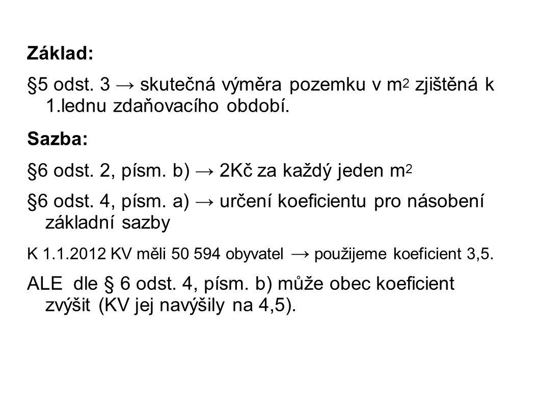 Základ: §5 odst. 3 → skutečná výměra pozemku v m 2 zjištěná k 1.lednu zdaňovacího období.